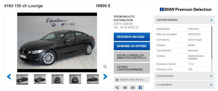 Achat Occasion BMW Série 4 Gran Coupe Prix (1)