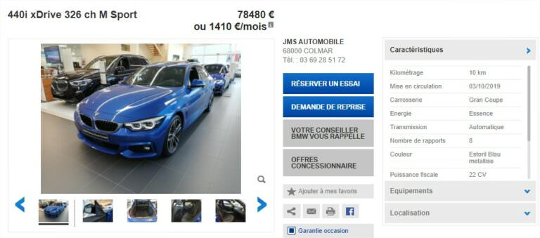 Achat Occasion BMW Série 4 Gran Coupe Prix (2)