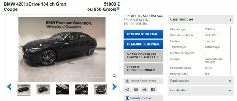 Achat Occasion BMW Série 4 Gran Coupe Prix (3)